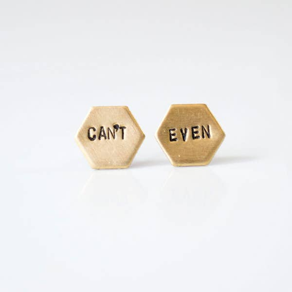 Hand Stamped Stud Earrings