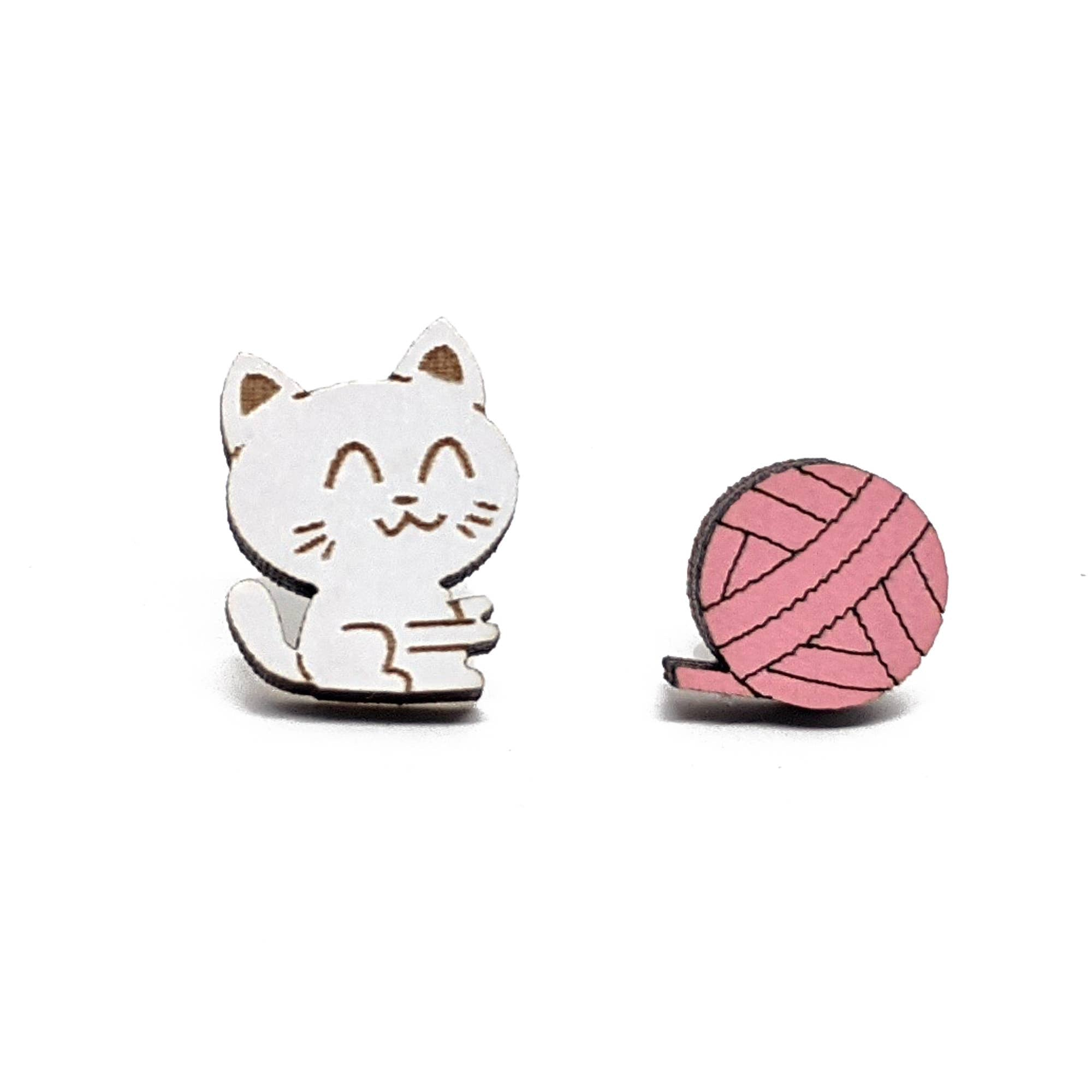 Cat & Yarn Earrings