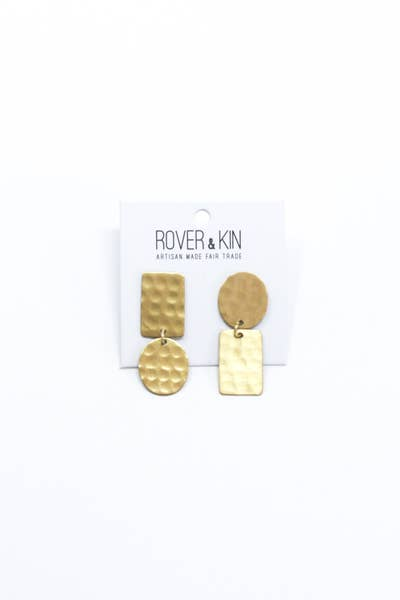 Hammered Flipped Shapes Earrings