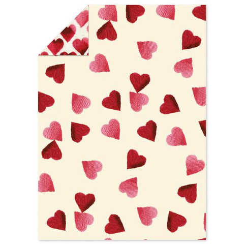 Pink Hearts Flat Wrapping Paper