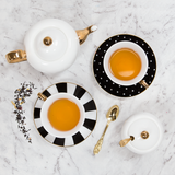 Signature Teacups, Ebony and Ivory Stripe