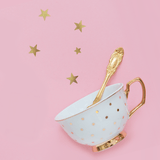 Signature Teacups, Gold Polka Dot