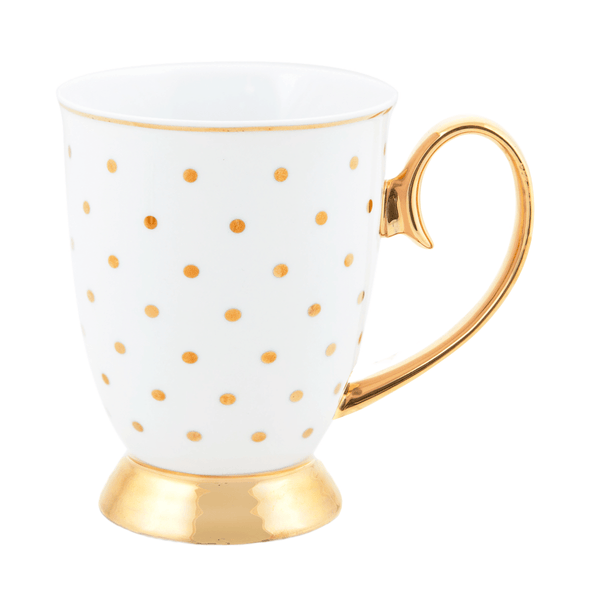Signature Mugs, Gold Polka Dot