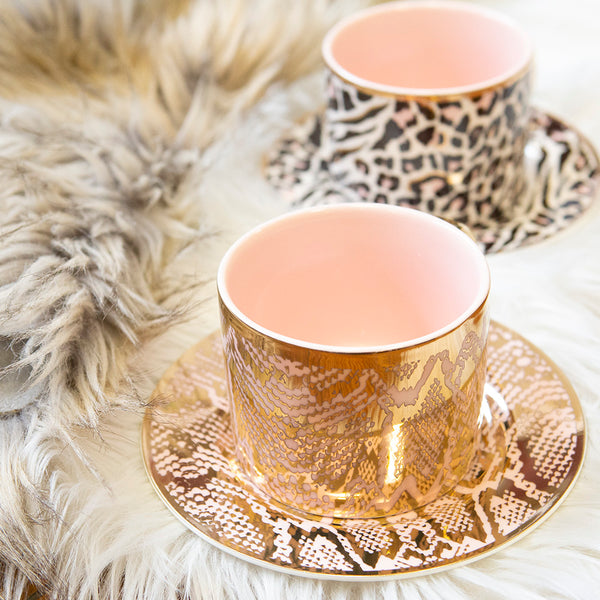 Teacup & Saucer - Safari Snakeskin
