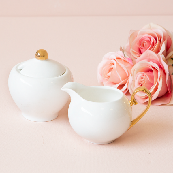 Sugar Bowl and Creamer - Ivory
