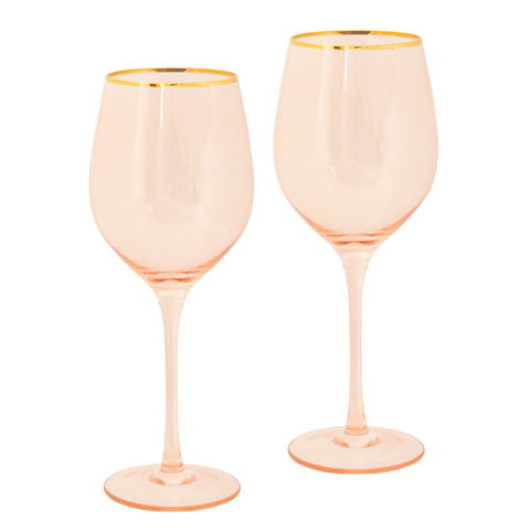 Rose Crystal Wine Glass - Set of 2