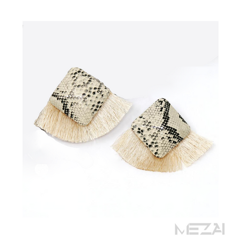 The Quad Snakeskin Fringe Earrings