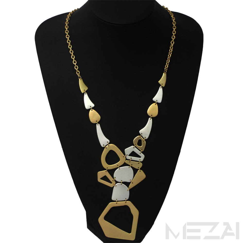 Geometric Shape Metal Necklace (Gold/Silver)