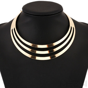 Three-Layer Metal Choker Necklace (Gold)