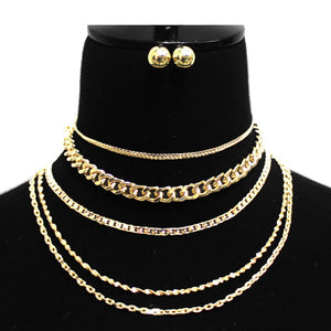 5-Layered Mixed Chain Link Necklace