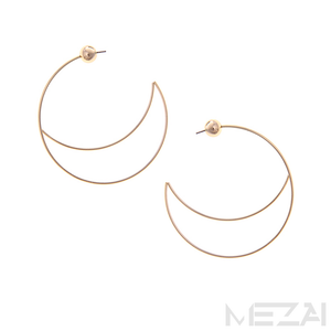 Luna Half Moon Hoop Earrings (Gold)