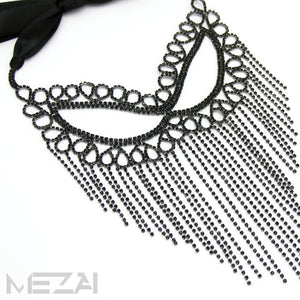 Crystal Fringe Mask - Black