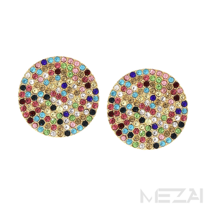 Rainbow Pavé Glass Stone Earrings