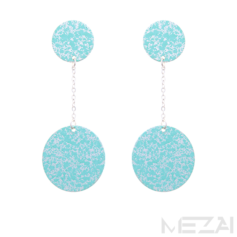 Duo Metal Drop Earrings (Aqua)
