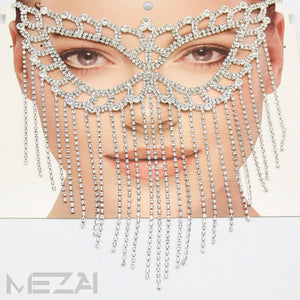 Butterfly Crystal Fringe Masquerade Mask - Silver