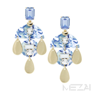 Victoria Glass Stone & Resin Drop Earrings (Blue)