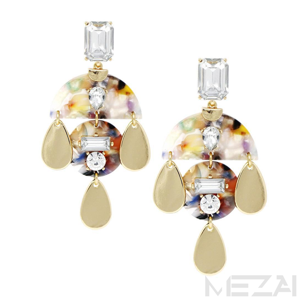 Victoria Glass Stone & Resin Drop Earrings (Multicolor)