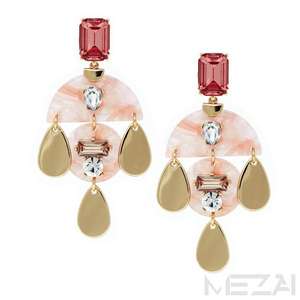 Victoria Glass Stone & Resin Drop Earrings (Pink)