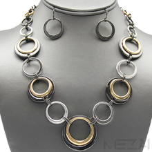 Xandra Link Necklace Set (Hematite)