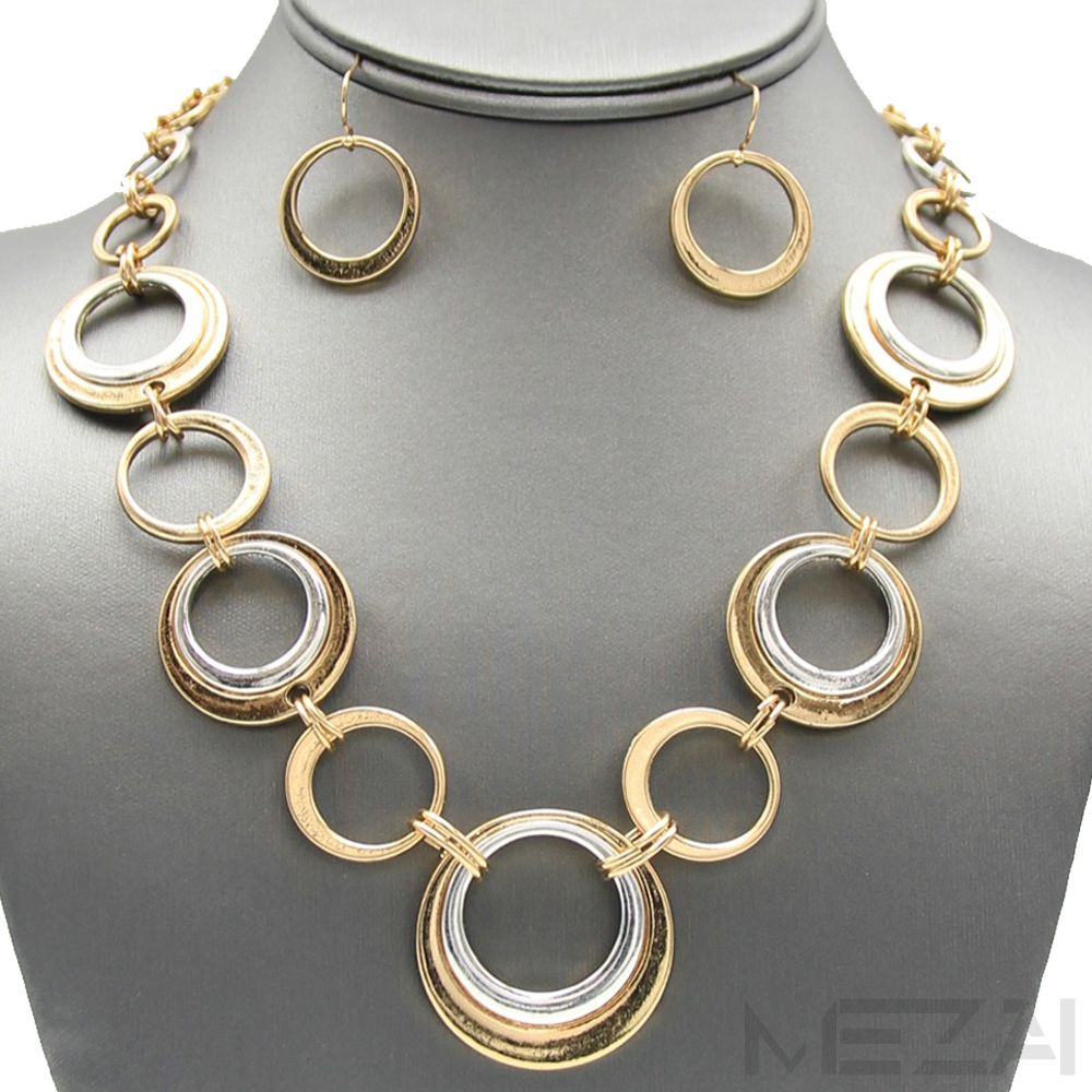 Xandra Link Necklace Set (Gold/Silver)