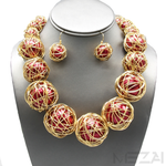 Zari Pearl Necklace Set (Red & Gold)