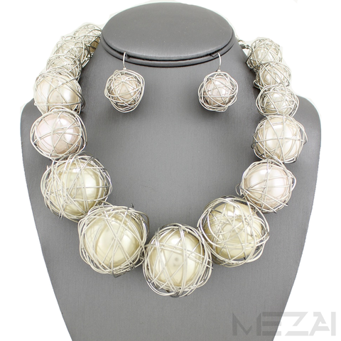 Zari Pearl Necklace Set (White & Silver)