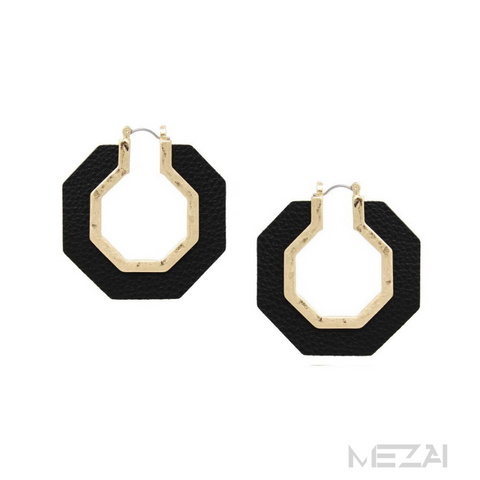 Hexagon Vegan Leather Earrings