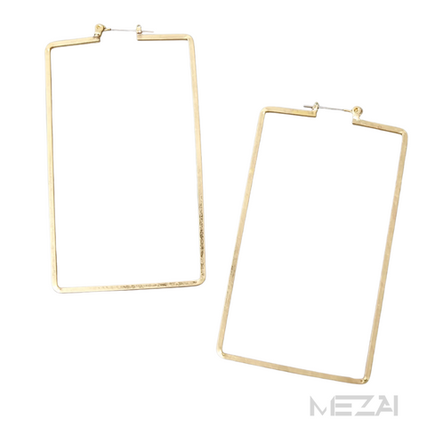 Brushed Golden Rectangle Earrings