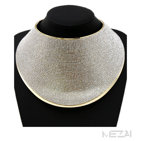 Statement Rhinestone Bib Collar Necklace