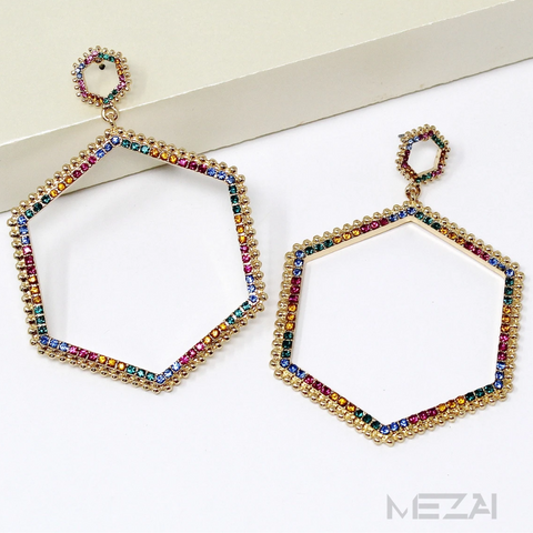 Hexagon Glass Pave Rhinestone Drop Earrings (5 Colors)