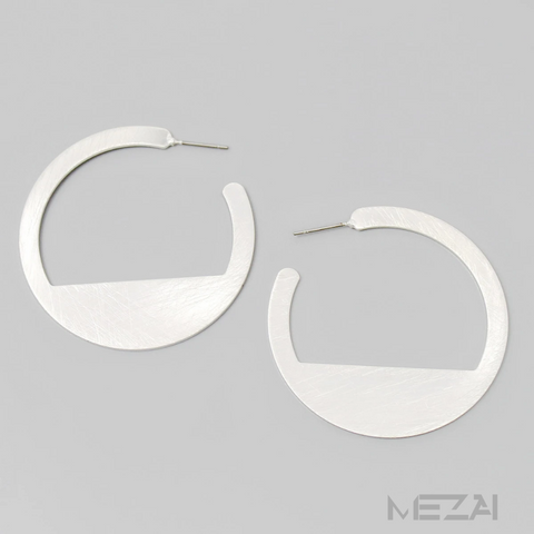 Brushed Silver Geometric Earrings