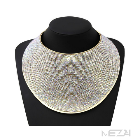 Statement Rhinestone Bib Collar Necklace (AURORA BOREALIS)