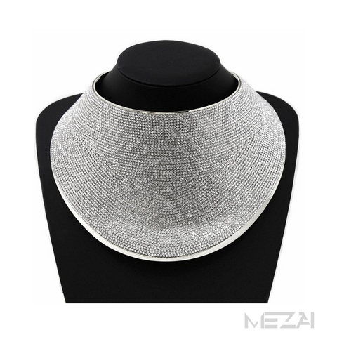 Statement Rhinestone Bib Collar Necklace (SILVER)