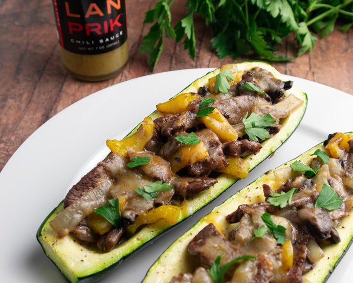 Cheesesteak Zucchini Boat