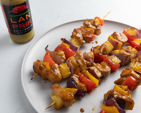 Teriyaki Chicken Skewers Lan Prik Chili Sauce
