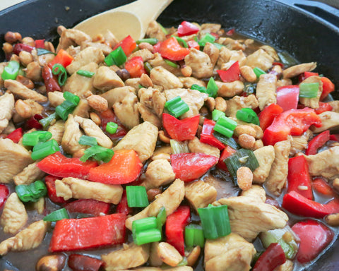 a close up of cooked kung pao chicken