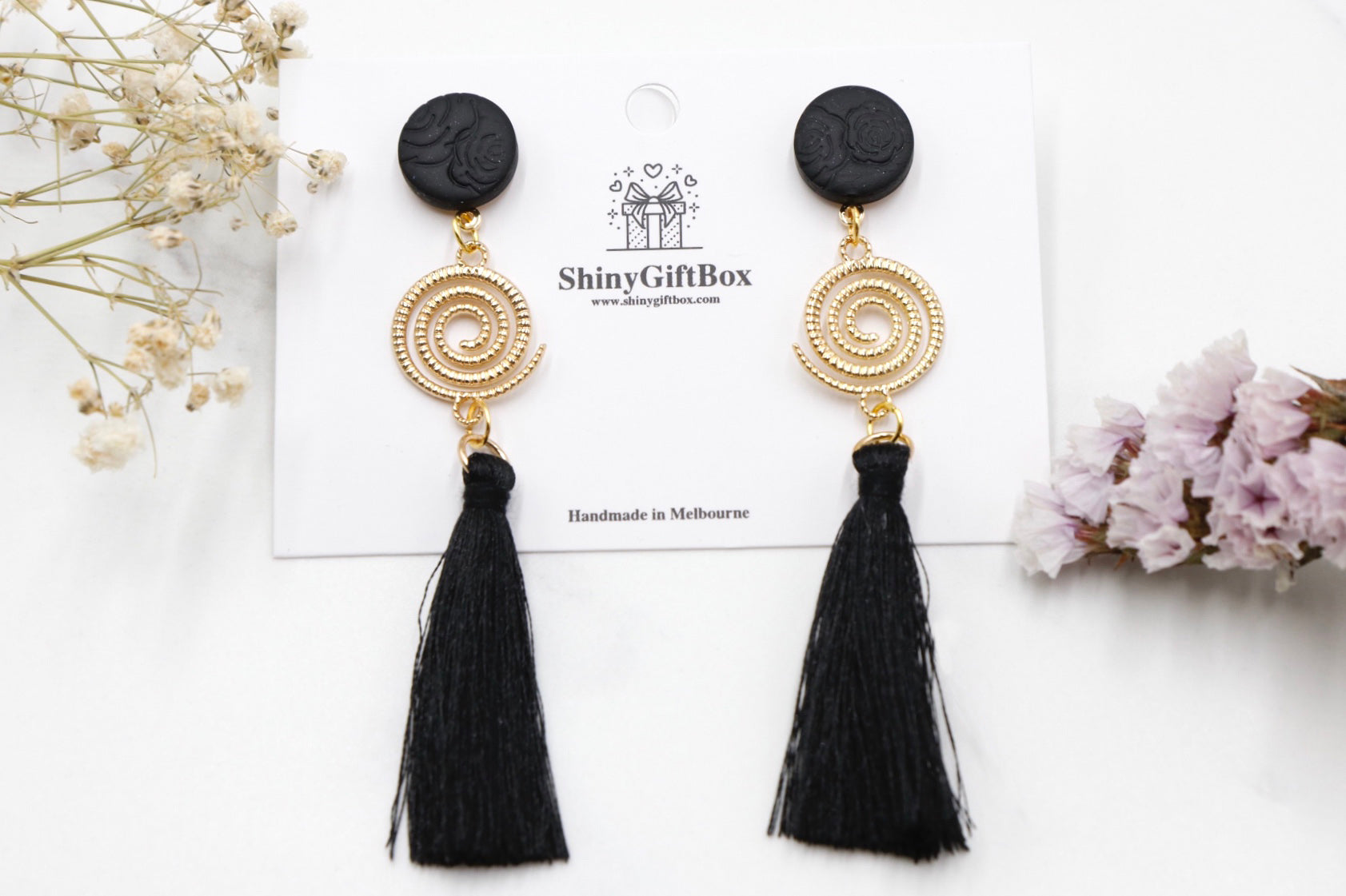 Black & Gold Swirl Statement Long Tassel