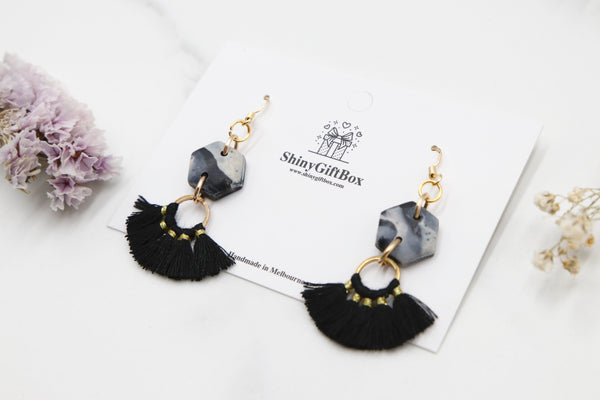 Black Marble Hexagon Half Moon Tassels
