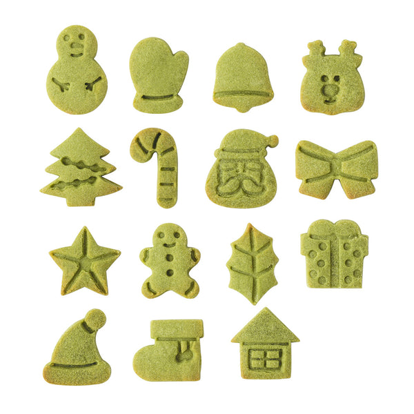 Mini 3cm Christmas Cookie Cutters and Embossers 15pcs Full Set