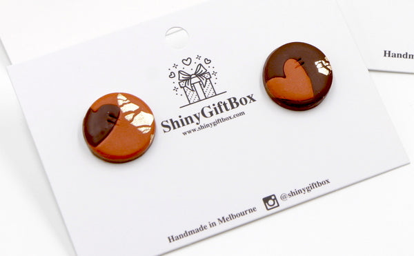 Brown Cinnamon & Gold Heart Studs