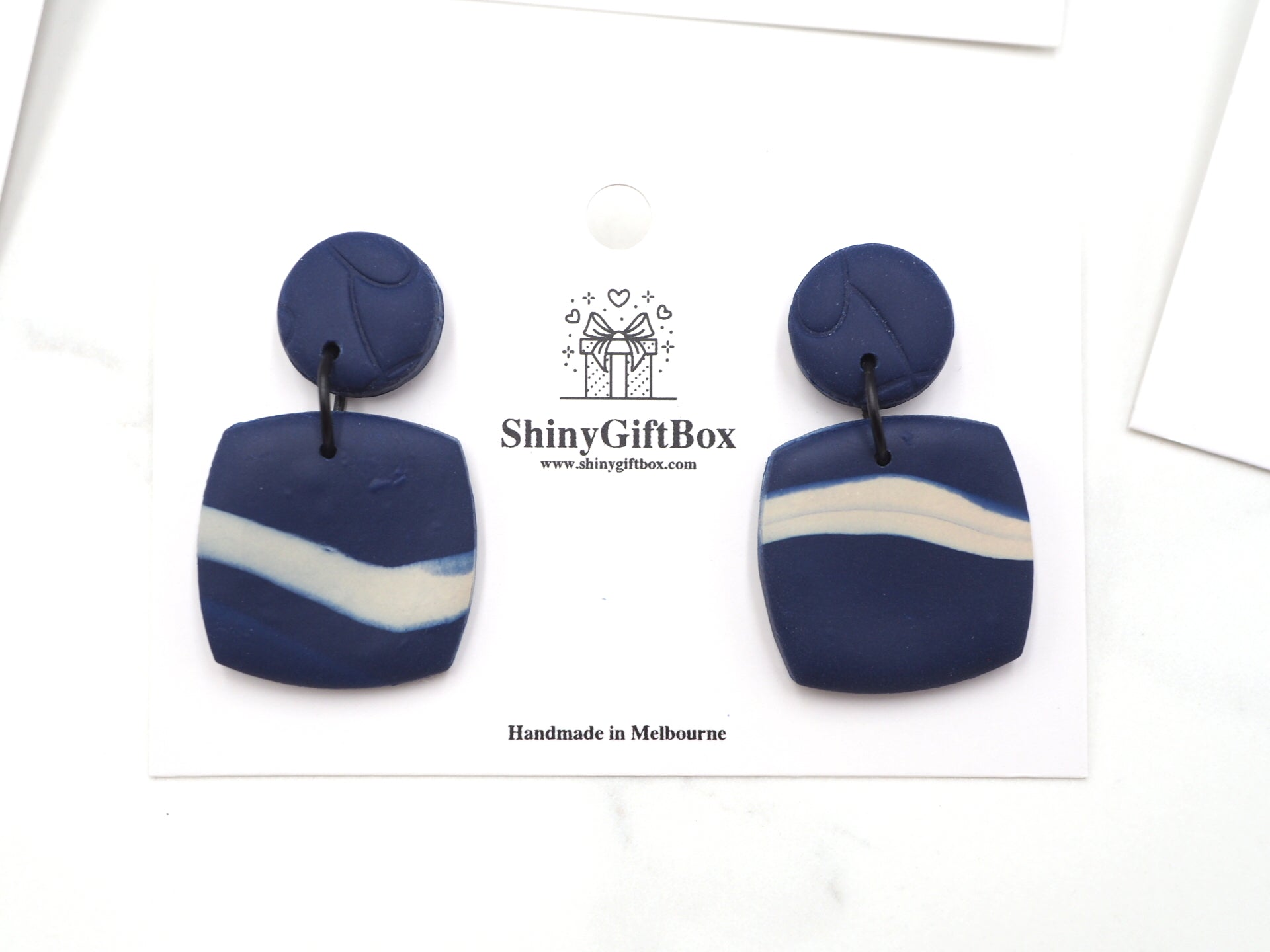 Blue & White Stripe Square
