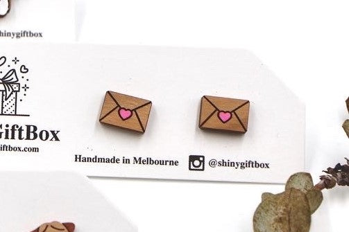 Love Letter Wooden Earrings with Colour