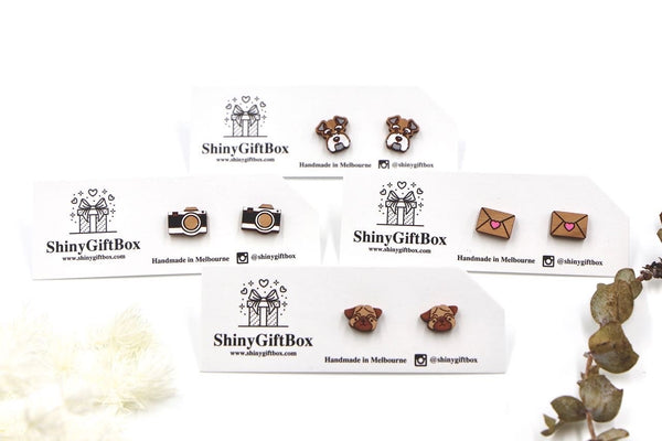 Pug Dog Wooden Stud Earrings