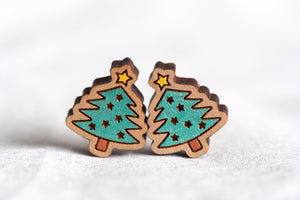 Christmas Tree with Stars Wooden Stud Earrings