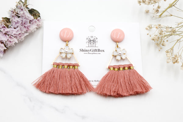 Pink Triangle Tassels with Flower