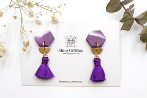 Purple & Gold Hexagon Tassels