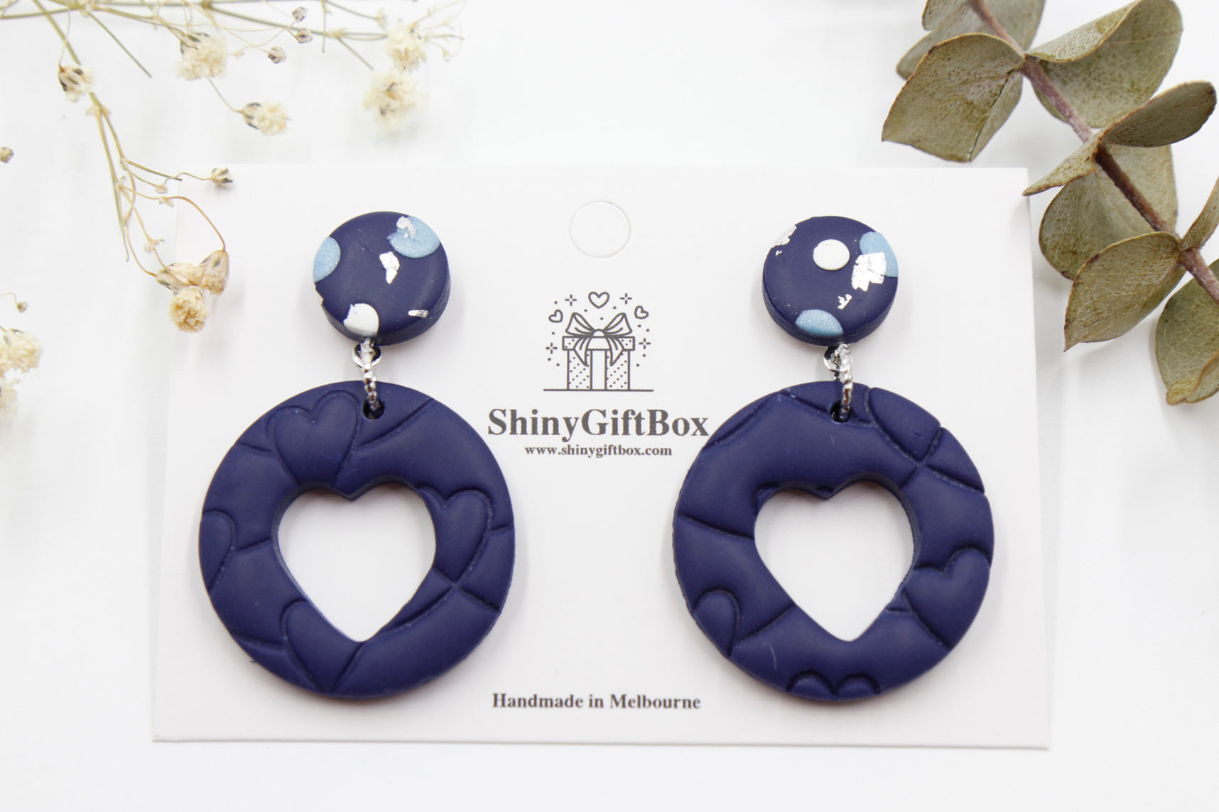 Navy Blue Love Heart Statement
