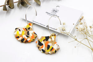 Orange & Brown Petal Statement Hoop Dangle