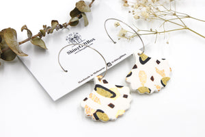 White & Gold Petal Statement Hoop Dangle
