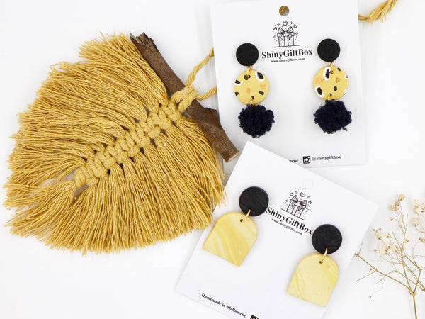 Black & Mustard Yellow Pom Pom